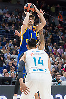 Real Madrid Gustavo Ayon and Khimki Moscow Alexey Shved during Turkish Airlines Euroleague match between Real Madrid and Khimki Moscow at Wizink Center in Madrid, Spain. November 02, 2017. (ALTERPHOTOS/Borja B.Hojas)