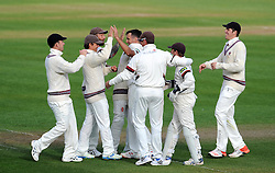 Somerset's Lewis Gregory celebrates the wicket of Durham's Mark Stoneman - Photo mandatory by-line: Harry Trump/JMP - Mobile: 07966 386802 - 12/04/15 - SPORT - CRICKET - LVCC County Championship - Day 1 - Somerset v Durham - The County Ground, Taunton, England.