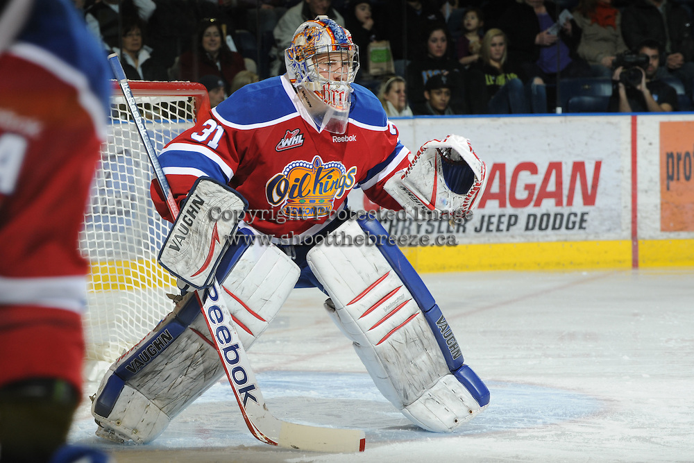 KELOWNA, CANADA, FEBRUARY 15:  Laurent Brossoit #31 of the Edmonton OIl Kings defends the net at the Kelowna Rockets on February 15, 2012 at Prospera Place in Kelowna, British Columbia, Canada (Photo by Marissa Baecker/Shoot the Breeze) *** Local Caption ***
