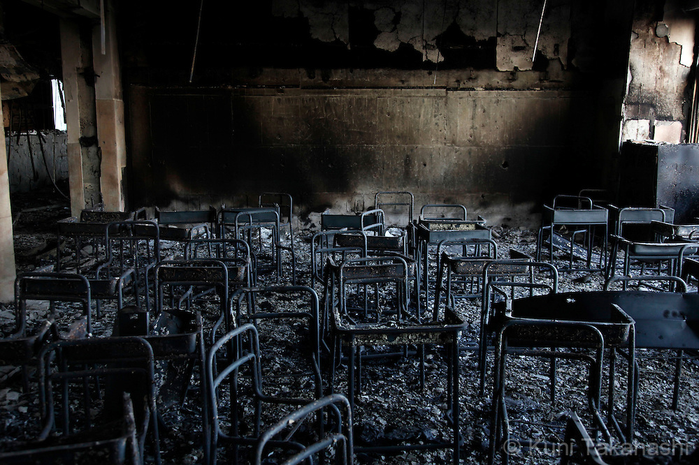 Burnt classroom at elementary school in Ishinomaki, Miyagi, Japan after on March 26, 2011, after massive earthquake and tsunami hit northern Japan. More than 20,000 were killed by the disaster on March 11.<br /> Photo by Kuni Takahashi