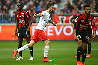 Javier Pastore of Paris SG celebrates after scoring his side's second goal during the French championship L1 football match between Nice and Paris Saint Germain on April 18, 2015 at the Allianz Riviera stadium in Nice, France. <br /> Photo: Manuel Blondeau / AOP Press/ DPPI