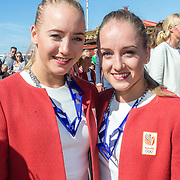 NLD/Scheveningen/20160713 - Perspresentatie sporters voor de Olympische Spelen 2016 in Rio de Janeiro, Lieke (l) en Sanne Wevers