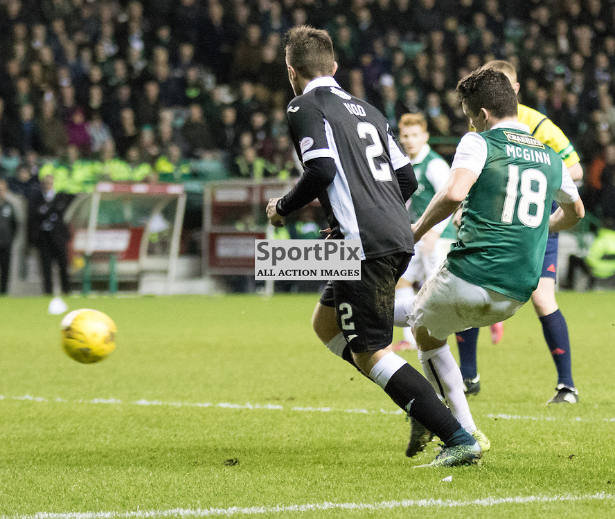 Hibernian's John McGinn gets a shot on goal in the Hibernian vs Queen of the South Scottish Championship 19th December 2015......(c) MARK INGRAM   SportPix.org.uk