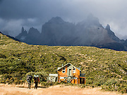 A Guarderia (Ranger Station) and Los Cuernos (the Horns), Torres del Paine National Park, Chile, South America.