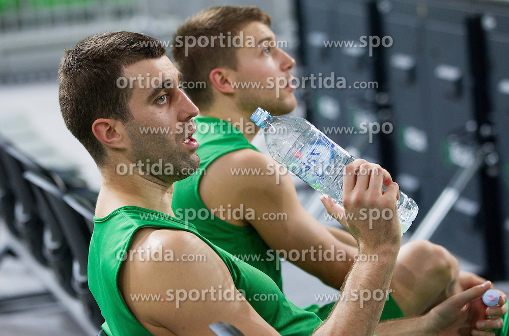 Drazen Bubnic of Union Olimpija and Jan Mocnik of Union Olimpija during practice session of KK Union Olimpija 1 day before Euroleague Basketball match against Fenerbahce Ulker Istanbul (TUR) on October 18, 2012 in Arena Stozice, Ljubljana, Slovenia. (Photo By Vid Ponikvar / Sportida)