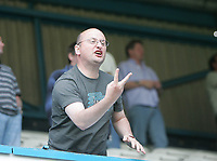 Photo: Lee Earle.<br /> Queens Park Rangers v Cardiff City. Coca Cola Championship. 21/04/2007.A Cardiff supporter shows his feelings towards the home section at the end of the match.