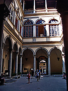Palazzo Strozzi in Florence, Italy. A symmetrical palace which began construction in 1489, and was completed in 1538. Commissioned for construction by Filippo Strozzi the Elder. Rusticated stone and beautiful archways are features of this building.