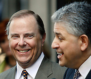HOUSTON  - MAY 17:  Former Enron CEO Jeff Skilling (L) and his attorney Daniel Petrocelli react to a question outside of the Bob Casey U.S. Courthouse after the close of his fraud and conspiracy trial, May 17, 2006, in Houston. The case has been given to the jury for deliberation. (Photo by Dave Einsel)