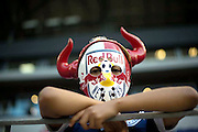 HARRISON, NJ - JUNE 01: A young New York Red Bulls soccer fan looks on before the game between the New York Red Bulls and the Vancouver FC at Red Bulls Arena on June 1, 2013. (Photo By: Rob Tringali)