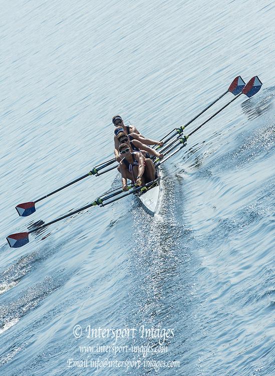 Hamburg. GERMANY.   USA JM4-. off teh start. Friday, Morning Quarter Finals at the 2014 FISA Junior World rowing. Championships.  11:01:08  Friday  08/08/2014  [Mandatory Credit; Peter Spurrier/Intersport-images]