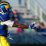 11/12/11 Newark DE: Delaware Running Back David Hayes #28 attempts to catch a pass in the second quarter during a Week 10 NCAA football game.<br /> <br /> Delaware defeated Richmond 24-10 in front of 18, 808 fans at Delaware Stadium on Saturday Nov. 12, 2011 in Newark Delaware.<br /> <br /> Special to The News Journal/SAQUAN STIMPSON