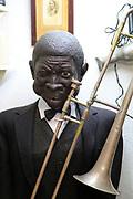 Mannequin figure black male jazz musician inside famous historic Los Gatos Cervecerias bar, Madrid, Spain