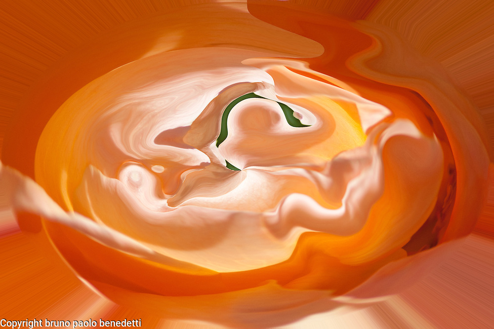 womb abstract art. Abstract orange vortex like round shape with many shades of orange and green and light reflections.