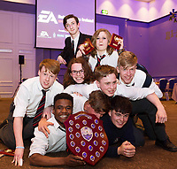 Repro Free: 16/05/2017  The EA Robot Games Ireland competition saw 550 students, from 25 schools across the country, battling 184 robots for the ultimate prize. The competition is sponsored by EA Games &amp; Bank of Ireland and run by Colmac Robotics. Ethan Dolan (navy top) and classmates from Villiers of Limerick, retained the title that the the school  claimed last year of Mini Sumo Robot Champion 2017 at the Radisson Blu Hotel in Galway.  <br /> .  Photo:Andrew Downes, xposure