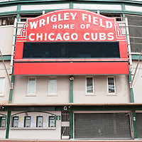 Wrigley Field sign home of Chicago Cubs. Wrigley Field is one of the oldest baseball stadiums in the United States.