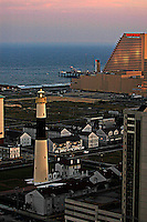 Aerial view Absecon Lighthouse in Atlantic City, and Showboat Casino Hotel, new jersey