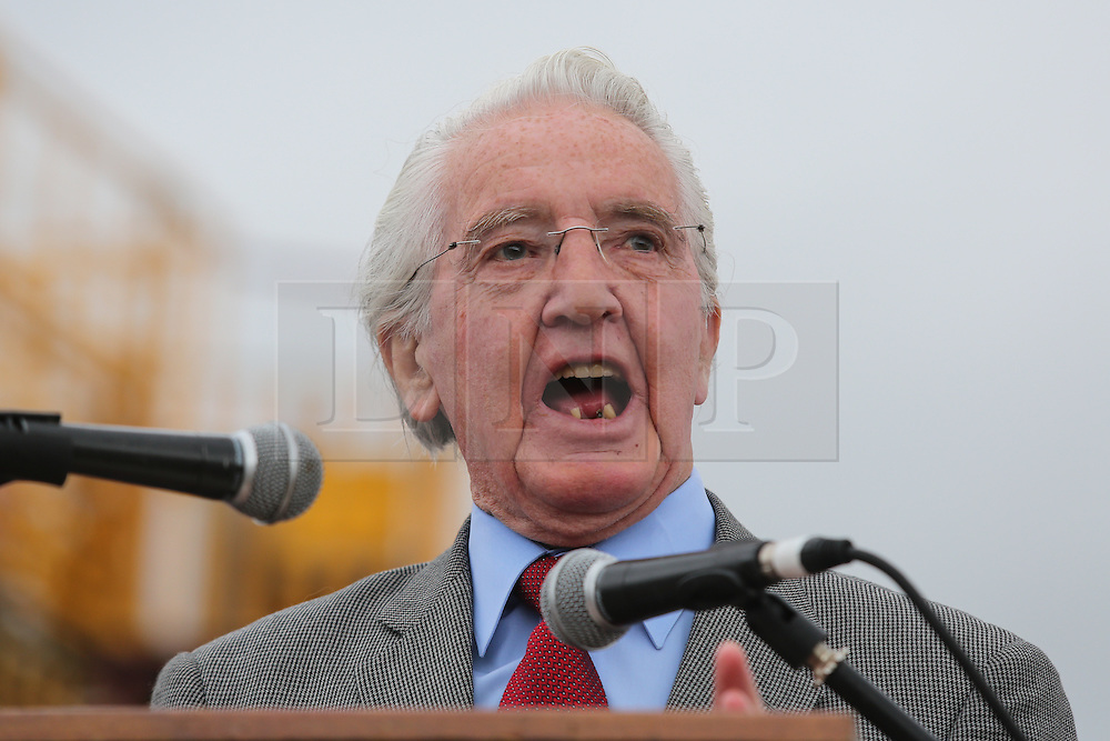 © Licensed to London News Pictures. 09/07/2016. Durham, UK. Veteran Labour MP Dennis Skinner addresses supporters at the Durham Miners' Gala in County Durham, UK. The gala is a large gathering held annually associated with the coal mining heritage and trade unionism. Photo credit : Ian Hinchliffe/LNP