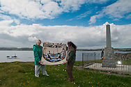 Portrait of the stitchers of the Sinking of HMS Iolaire panel for the Great Tapestry of Scotland project. Photographed at the memorial monument to commemorate the disaster near Stornoway on Lewis. www.scotlandstapestry.com<br /> <br /> pictures by Alex Hewitt