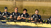 """Putney, Great Britain,  Oxford University Trial Eights, between """"Shirts and Skins"""". During the trial over the championship course Putney to Mortlake. 12/12/2007 [Mandatory Credit Peter Spurrier/Intersport Images]..OUBC Crews:...Skins: left to right  5. Michael WHERLEY 6. Toby MEDARIS, 7.Jan HERZOG, stroke Will ENGLAND and cox Nick BRODIE,.. Varsity Boat Race, Rowing Course: River Thames, Championship course, Putney to Mortlake 4.25 Miles,"""