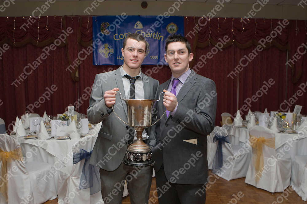 Pictured at the Newmarket on Fergus GAA Victory Social Night in Clare Inn Hotel were:<br /> Darren O Sullivan Capt of Minor A Hurling Champions &amp; Thomas Ryan Manager.<br /> Picture Credit  Brian Gavin Press 22