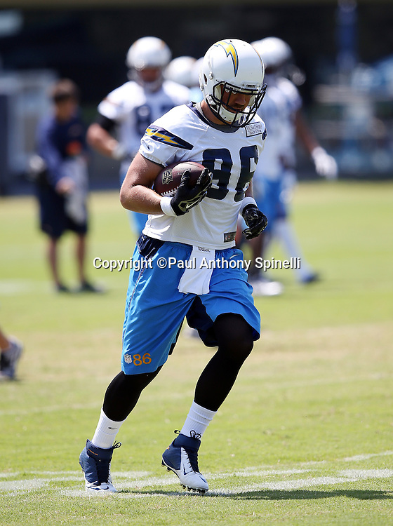 San Diego Chargers tight end Kyle Miller (86) runs with the ball after catching a pass during the San Diego Chargers Spring 2015 NFL minicamp practice on Wednesday, June 17, 2015 in San Diego. (©Paul Anthony Spinelli)