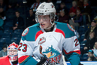 KELOWNA, CANADA -JANUARY 29: Justin Kirkland #23 of the Kelowna Rockets skates against the Spokane Chiefs on January 29, 2014 at Prospera Place in Kelowna, British Columbia, Canada.   (Photo by Marissa Baecker/Getty Images)  *** Local Caption *** Justin Kirkland;
