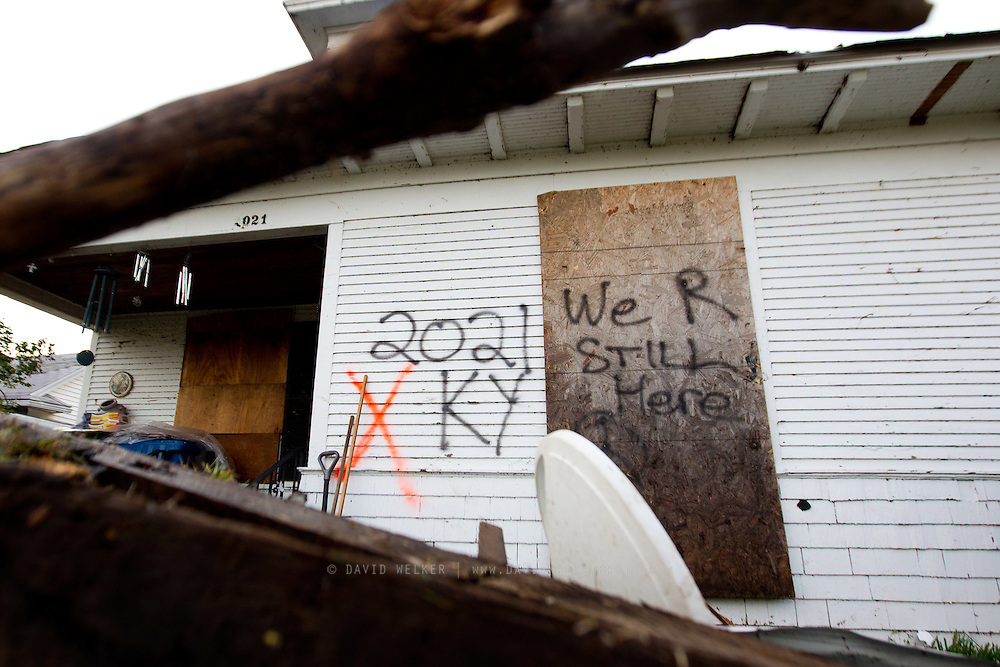 May 25, 2011- The home of John and Cindy in Joplin, Missouri is marked with spray paint marking that those inside are all okay after a Tornado came through the town on Sunday, May 22, 2011. Credit: David Welker / TurfImages.com