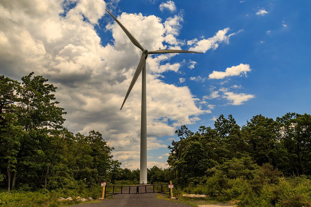 Mahanoy City, PA – June 14, 2016: A Gamesa 2MW wind turbine in operation at the Locust Ridge Wind Farm in Schuylkill County, Pennsylvania.