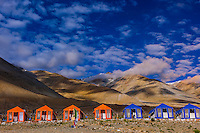 A tent camp along Pangong Lake at 14,000 feet. Pangong Lake is on the border of India with Tibet (China) and is the highest salt water lake in the world. Ladakh, Jammu and Kashmir State, India.