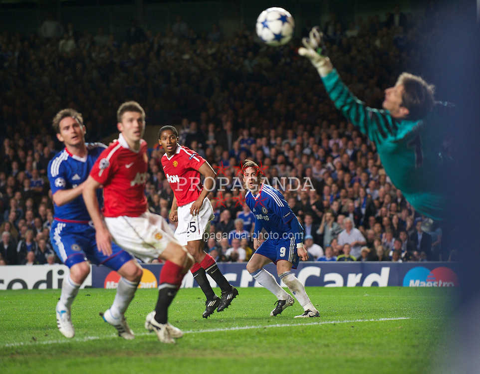 LONDON, ENGLAND, Wednesday, April 6, 2011: Chelsea's Fernando Torres sees his header saved by Manchester United's goalkeeper Edwin van der Sar during the UEFA Champions League Quarter-Final 1st leg match at Stamford Bridge. (Photo by David Rawcliffe/Propaganda)