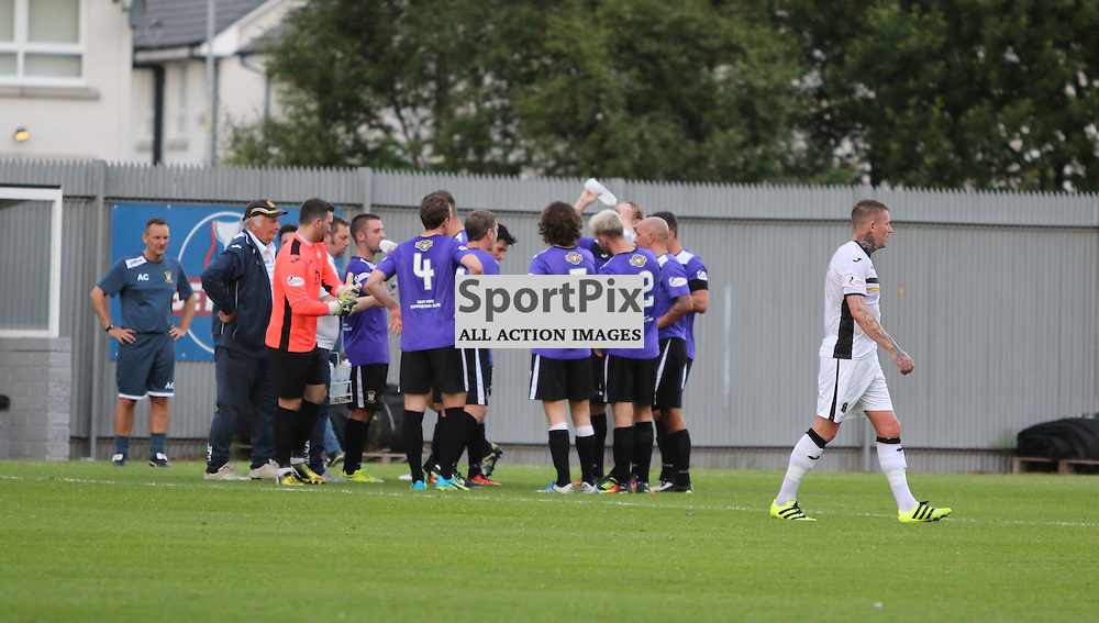 Players get a water break because of the heat during the Dumbarton v East Fife Scottish League Cup group stage 19 July 2016<br /> <br /> (c) Andy Scott | SportPix.org.uk