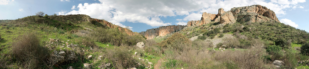 Israel, Galilee, Amud (Pillar) stream nature reserve and park panoramic view