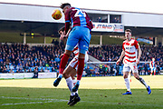 Scunthorpe United forward Kyle Wootton (29) heads the ball in the box during the EFL Sky Bet League 1 match between Scunthorpe United and Doncaster Rovers at Glanford Park, Scunthorpe, England on 23 February 2019.