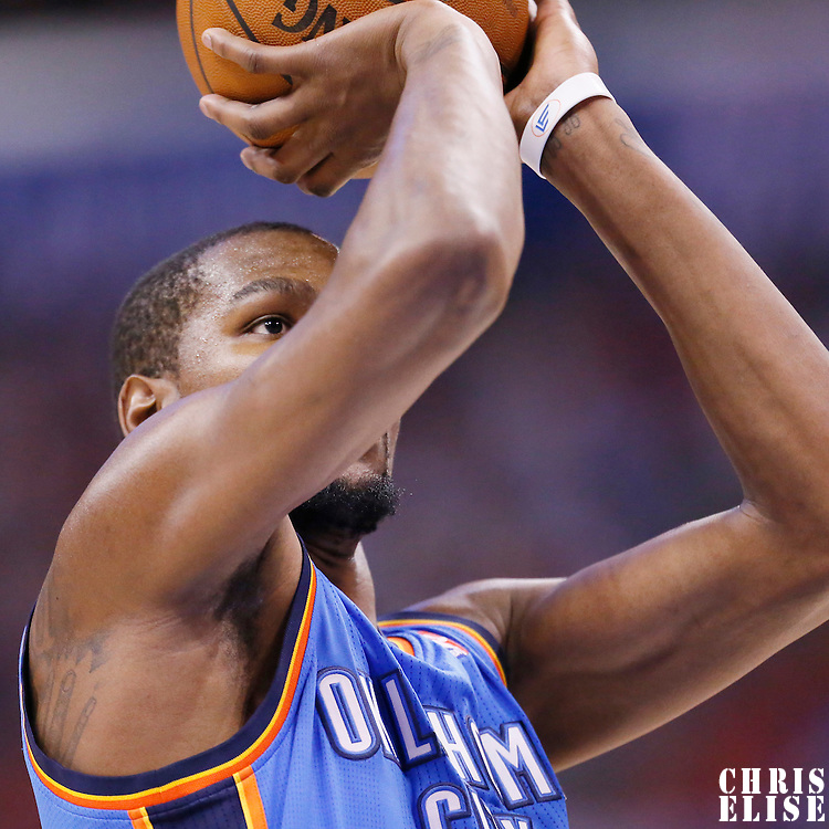 11 May 2014: Oklahoma City Thunder forward Kevin Durant (35) is seen at the free throw line during the Los Angeles Clippers 101-99 victory over the Oklahoma City Thunder, during Game Four of the Western Conference Semifinals of the NBA Playoffs, at the Staples Center, Los Angeles, California, USA.