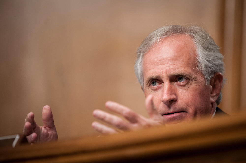 Senator Bob Corker (R-TN) asks questions during a Senate Banking, Housing and Urban Affairs Committee on Tuesday on Captiol Hill. The committee held the hearing about implementing derivatives reform and reducing systemic risk and improving market oversight.
