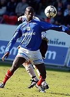 Fotball, 12 april 2003, Tippeligaen, <br />Rosenborg (RBK) - Vålerenga (VIF) 1-0<br />Pa Madou Kah, VIF<br /><br />Foto:Carl-Erik Eriksson