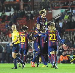 FC Barcelona players celebrate as they level the score at Ashton Gate - Photo mandatory by-line: Paul Knight/JMP - Mobile: 07966 386802 - 13/11/2014 - SPORT - Football - Bristol - Ashton Gate Stadium - Bristol Academy v FC Barcelona - UEFA Women's Champions League