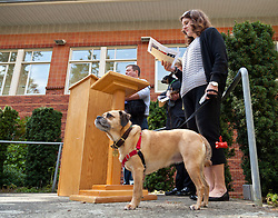 Blessing of the animals for chapel at PLU on Monday, May 4, 2015. (Photo/John Froschauer)