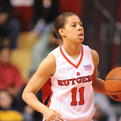 Feb 24, 2009; Piscataway, NJ, USA; Rutgers guard Nikki Speed (11) carries the ball up court during the first half of Rutgers' 71-53 victory over Cincinnati at the Louis Brown Athletic Center.