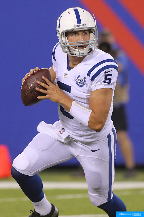 Chandler Harnish, Indianapolis Colts, in action during the New York Giants V Indianapolis Colts, NFL American Football Pre Season match at MetLife Stadium, East Rutherford, NJ, USA. 18th December 2013. Photo Tim Clayton