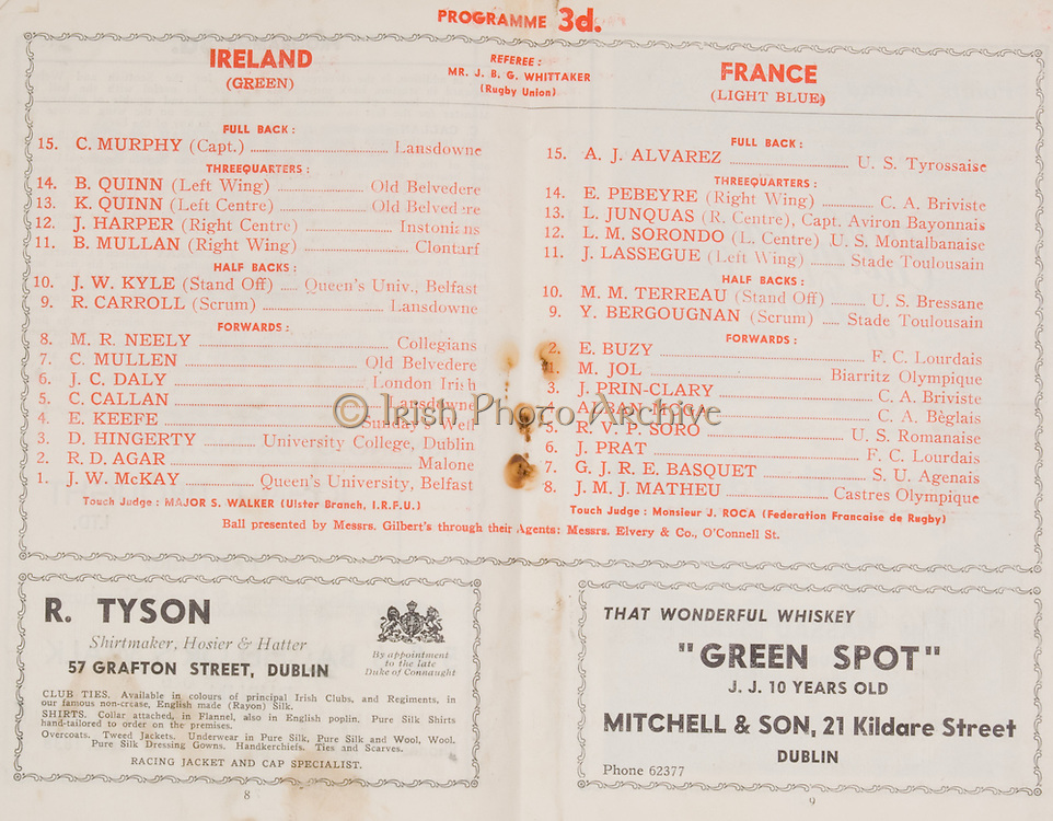 Irish Rugby Football Union, Ireland v France, Five Nations, Landsdowne Road, Dublin, Ireland, Saturday 25th January, 1947,.25.1.1947, 1.25.1947,..Referee- MR J B G Whittaker, ..Score- Ireland 8 - 12 France, ..Irish Team, ..C Murphy, Wearing number 15 Irish jersey, Captain of the Irish team, Full Back, Landsdowne Rugby Football Club, Dublin, Ireland,..B Quinn, Wearing number 14 Irish jersey, Left Wing, Old Belvedere Rugby Football Club, Dublin, Ireland, ..K Quinn, Wearing number 13 Irish jersey, Left Centre, Old Belvedere Rugby Football Club, Dublin, Ireland,  ..J Harper, Wearing number 12 Irish jersey, Right centre, Instonians Rugby Football Club, Belfast, Northern Ireland, ..B Mullan, Wearing number 11 Irish jersey, Right Wing, Clontarf Rugby Football Club, Dublin, Ireland, ..J W Kyle, Wearing number 10 Irish jersey, Stand Off, Queens University Rugby Football Club, Belfast, Northern Ireland,..R Carroll, Wearing number 9 Irish jersey, Scrum, Landsdowne Rugby Football Club, Dublin, Ireland, ..M R Neely, Wearing number 8 Irish jersey, Forward, Collegians Rugby Football Club, Belfast, Northern Ireland, ..C Mullen, Wearing number 7 Irish Jersey, Forward, Old Belvedere Rugby Football Club, Dublin, Ireland, ..J C Daly, Wearing Number 6 Irish Jersey, Forward, London Irish Rugby Football Club, Surrey, England, ..C Callan, Wearing number 5 Irish jersey, Forward, Landsdowne Rugby Football Club, Dublin, Ireland, ..E Keeffe, Wearing number 4 Irish jersey, Forward, Sundays Well Rugby Football Club, Cork, Ireland, ..D Hingerty, Wearing number 3 Irish jersey, Forward, University College Dublin Rugby Football Club, Dublin, Ireland, ..R D Agar, Wearing number 2 Irish jersey, Forward, Malone Rugby Football Club, Belfast, Northern Ireland, ..J W McKay, Wearing number 1 Irish jersey, Forward,  Queens University Rugby Football Club, Belfast, Northern Ireland,..French Team, ..A J Alvarez, Wearing number 15 French jersey, Full Back, U S Tyrossaise Rugby Football Club, France, ..E Pebeyre