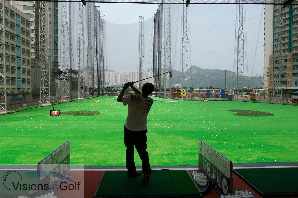 25 August 2005. Island Golf Club, Hong Kong. The 112-bay driving range is situated among a densely populated residential area on Hong Kong Island.<br /> Mandatory credit: Richard Castka / visionsingolf.com