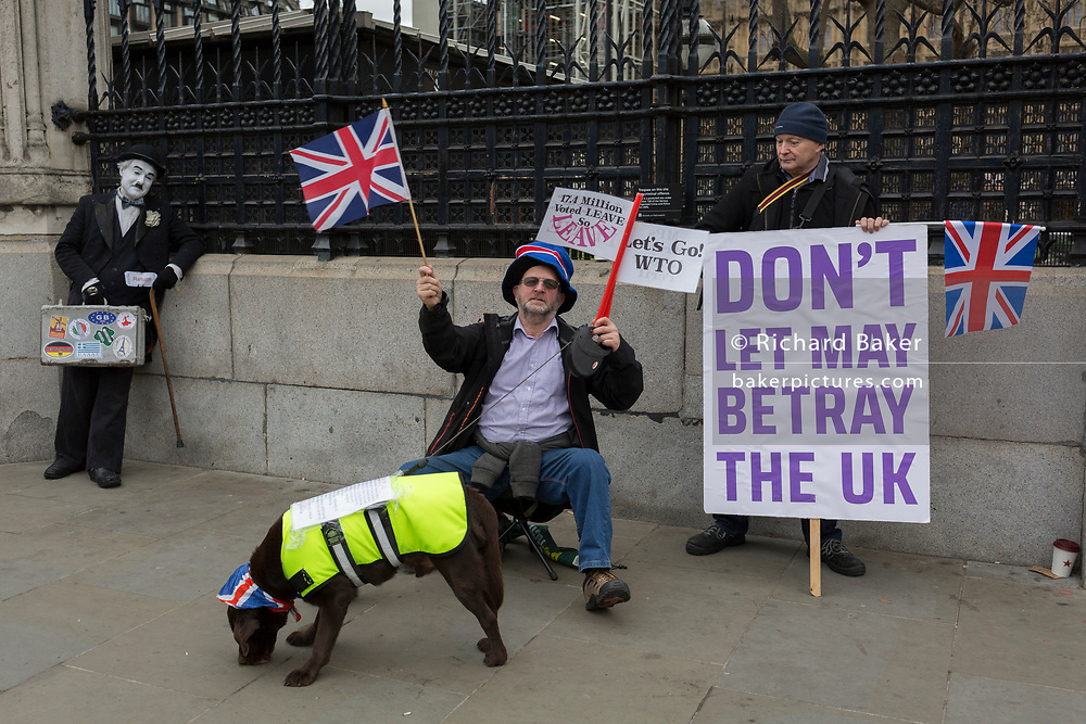 On the day that Prime Minister Theresa May's Meaningful Brexit vote is taken in the UK Parliament, Leave supporters protest at the railings of the House of Commons in Parliament Square on 15th January 2019, in Westminster, London, England.