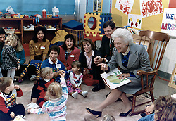 Former first lady Barbara Bush, wife of former President George H.W. Bush and mother of former President George W. Bush, died Tuesday at her home in Houston. She was 92. Barbara Bush had been in failing health, suffering from congestive heart failure and chronic obstructive pulmonary disease. George and Barbara, who celebrated their 73rd wedding anniversary on Jan. 6, hold the record for the longest-married presidential pair. Mrs. Bush was known for her wit and emphasis on family. One of her primary causes was literacy. She founded the Barbara Bush Foundation for Family Literacy in 1989 to carry forth her legacy in the cause for literacy. PICTURED: Oct. 16, 1991 - Florissant, Missouri, U.S. - US First Lady BARBARA BUSH reads ''Brown Bear Brown Bear'' to the children with Missouri Governor JOHN ASHCROFT at a ''Parents as Teachers'' parent and child group at the Ferguson-Florissant School District October 16, 1991 in Florissant, Missouri. (Credit Image: © White House/Planet Pix via ZUMA Wire)