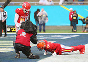 Jan 27, 2019; Orlando, FL, USA; AFC wide receiver Jarvis Landry of the Cleveland Browns (80) does pushups after dropping a pass while AFC wide receiver Tyreek Hill of the Kansas City Chiefs (10) watches in the NFL Pro Bowl football game at Camping World Stadium.  The AFC beat the NFC 26-7. (Steve Jacobson/Image of Sport)