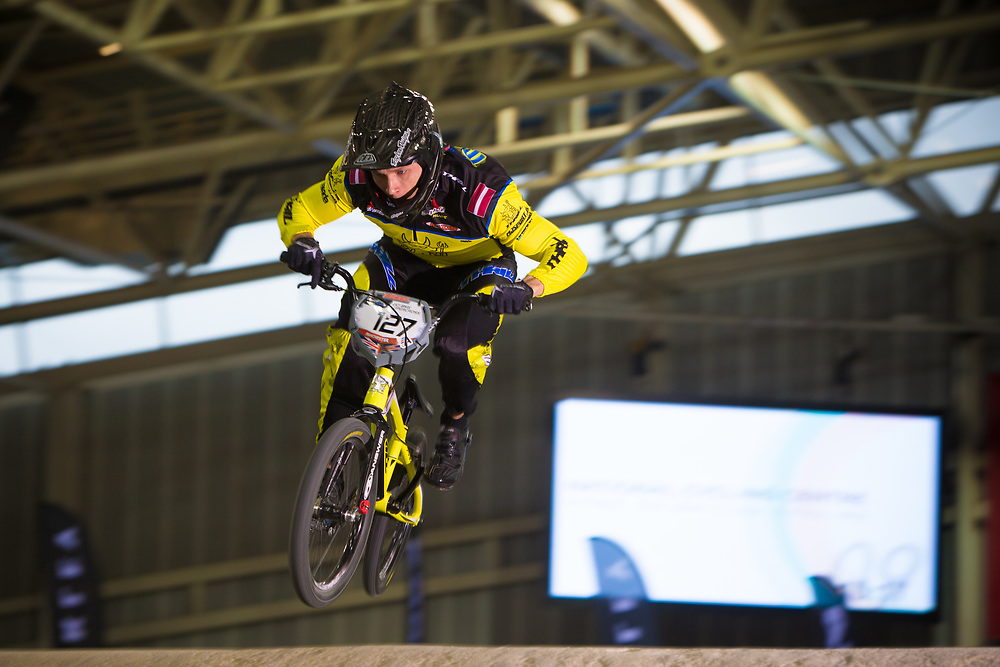 #127 (TREIMANIS Edzus) LAT at the 2014 UCI BMX Supercross World Cup in Manchester.
