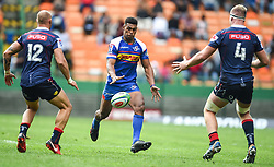 Cape Town-180427 Stomers Damian Willemse challenged  Billy Meakes and Matt Phillip of Rebels in the Super 15 rugby game at Newlands Stadium.photograph:Phando Jikelo/African news Agency