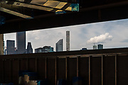 LONG ISLAND CITY, NY - JULY 18, 2016: Interior of Hunters Point Community Library (currently under construction), with Manhattan skyline in background, in Long Island City. CREDIT: Emon Hassan for The New York Times