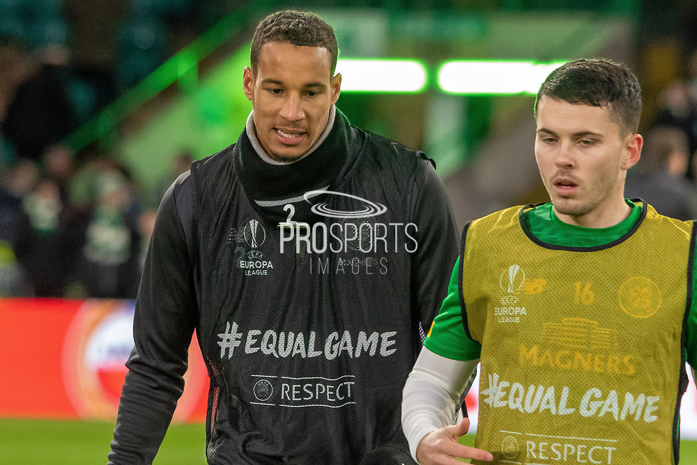 Celtic's Christopher Jullien (#2) & Lewis Morgan (#16) warm up ahead of during the Europa League match between Celtic and Rennes at Celtic Park, Glasgow, Scotland on 28 November 2019.