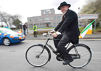 Derek O Regan , On yer Bike Cycles heading to The best  Galway St Patrick's Day Parade in years with a hugely international feel to it . photo:Andrew Downes. Photo:Andrew Downes